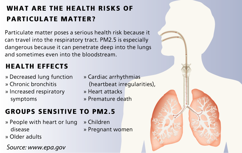 particulate matter health effects Health and environmental effects of particulate matter why are we concerned about particulate matter particulate matter is the term used for a mixture of solid particles and liquid droplets found in the air.