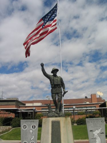  Soldier monument in front of Vernal City offices building