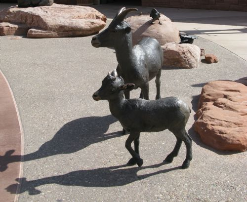 Bighorn sheep statues at Arches NP visitor center
