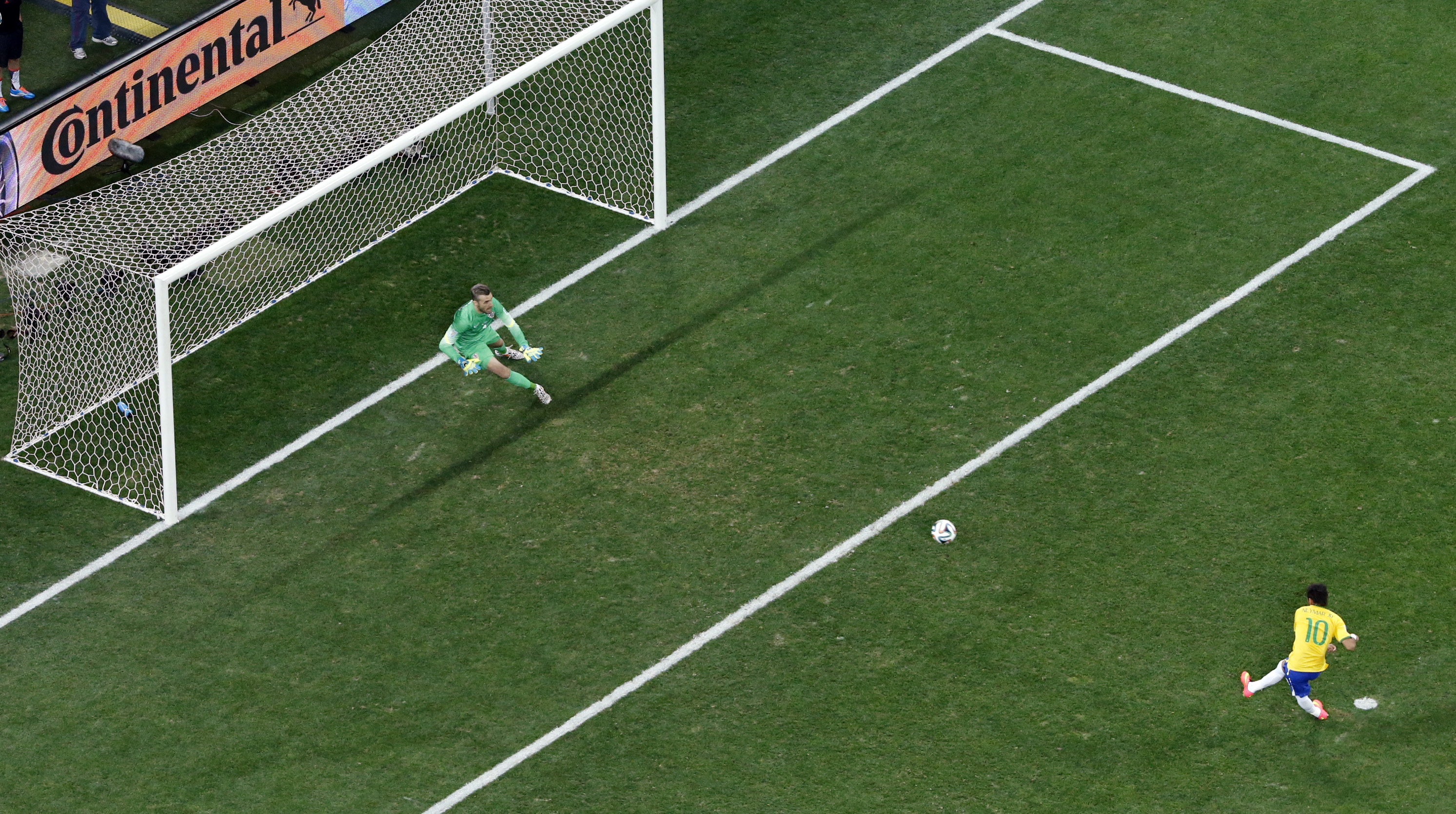 TV replays appeared to show Brazilian goalkeeper Barbara moving a few feet  off her line for