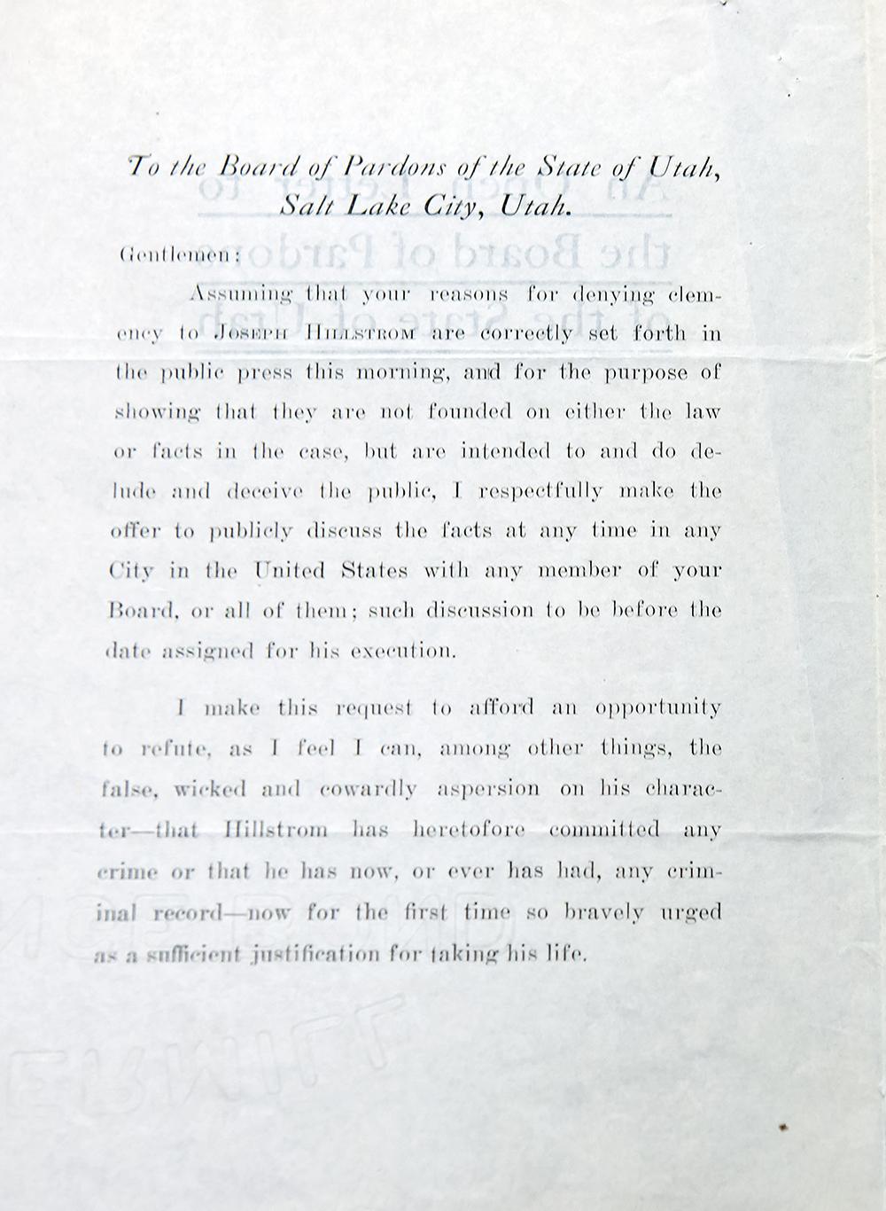 Joe Hill case — Letters